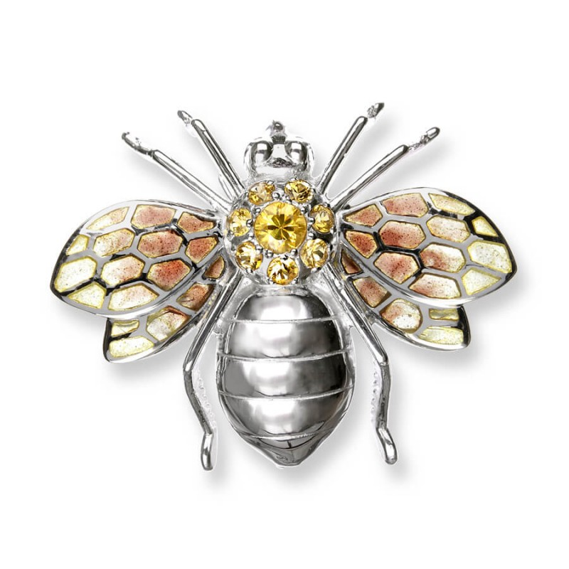 SILVER BEE BROOCH/ PENDANT ENAMEL AND YELLOW SAPPHIRES £280
